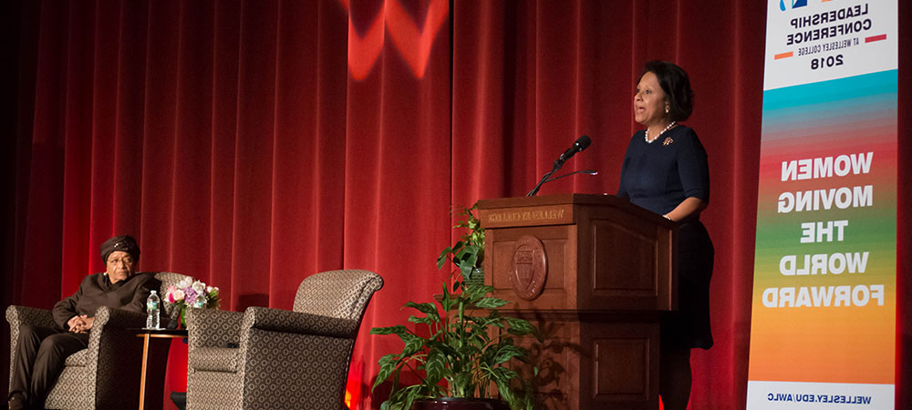 总统 Johnson speaking at Wellesley College's African Women's Leadership Conference